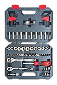 CTK84CMP Crescent 1/4-Inch and 3/8-Inch Drive 6 and 12 Point SAE/Metric Mechanics Tool Set, 84-Piece