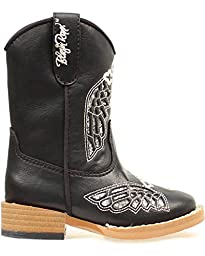 Blazin Roxx Western Boots Girl Kid Gracie Cross 4.5 Infant Black 44132