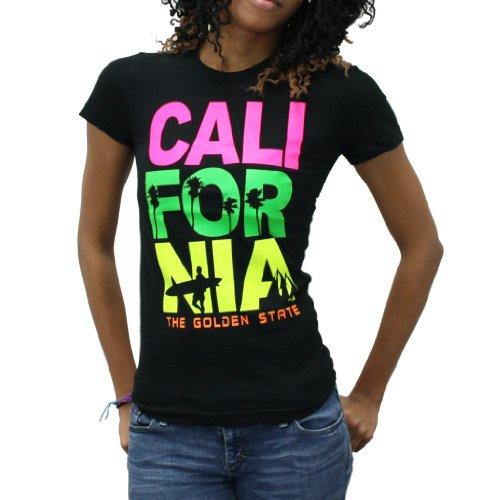 """Golden State California' Graphic Design Black T-Shirt For Women"