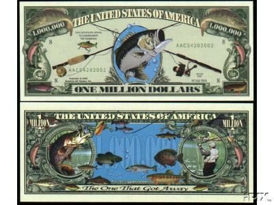 Fishing Million Dollar Bill With Bill Protector (Fishing Stocking Stuffers compare prices)