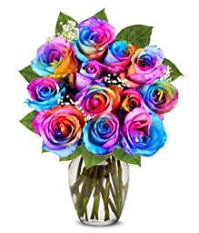 From You Flowers - Two Dozen Wild Rainbow Roses (Free Vase Included)