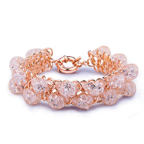 Bamoer Women'S Aaa Grade Zircon 18K Rose Gold Plated Bracelet