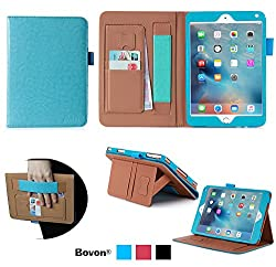 iPad Pro Case, Bovon® Folio Premium PU Leather Stand Case Cover with Auto Wake & Sleep Feature, Elastic Strap, Card Slots, Note Holder for Apple iPad Pro (2015 Release) (Blue)
