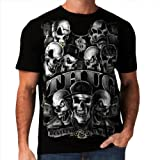 Wellcoda Thug Skeleton Biker Rider Skull Gangster Mens T-Shirt NEW Top 100% Cotton Tee S-3XL Size
