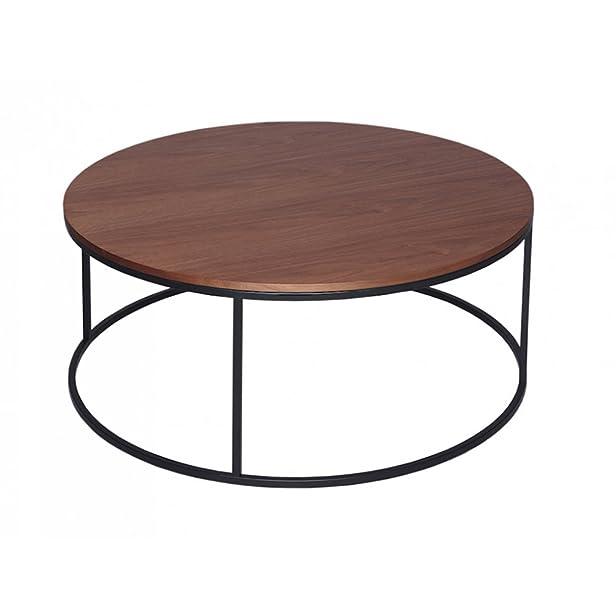Gillmore Space Noce e nero contemporaneo tavolino circolare in metallo