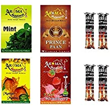 Desi Karigar Aroma Happiness Herbal Hookah Flavour Combo Of 4 Pack Plus 4 Rolls Of Charcoal
