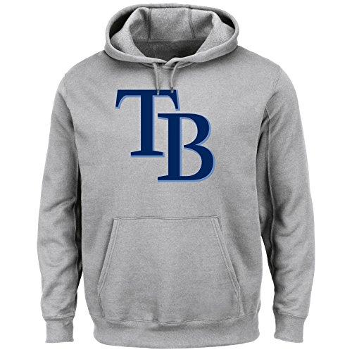 MLB Tampa Bay Rays Men's Tek Patch Fleece, Steel Heather, Large