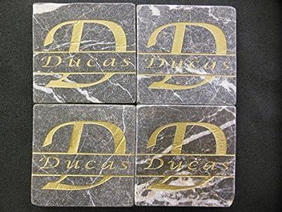 Personalized Stone Coaster Set of 4 Sandblast Engraved Granite