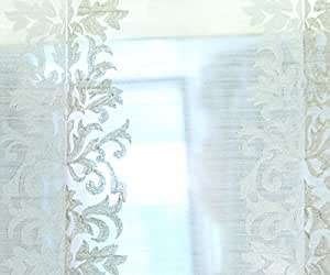 48 Wide Off White Damask Organza Zari Embroidery Sheer Curtain Fabric By The Yard