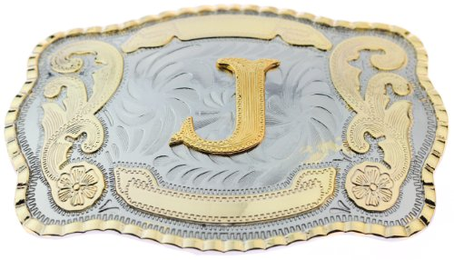 Initial Letters Western Style Cowboy Rodeo Gold Large Belt Buckles (Large Square, J LETTER)