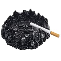 Decorative Skulls and Crossbones in Flames Ashtray for Spooky Skeleton Halloween Decorations or Medieval Art Figurines & Gothic Home Decor As Scary Fantasy Gifts by Generic
