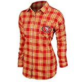 KLEW NFL San Francisco 49Ers Women's Wordmark Basic Flannel Shirt, Large, Red