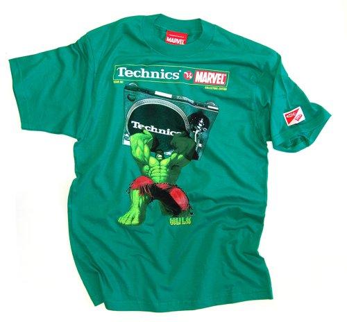 DMC Technics Marvel Hulk DJ Mens T-Shirt Kelly Green Tm7Gs Small