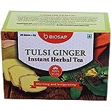 Biosap Tulsi Ginger Instant Herbal Tea- Caffeine Free, Gluten Free, No Muddy Taste ,Pack Of 25 Sticks