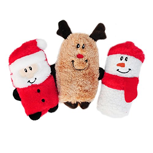 Holiday Squeakie Buddies No Stuffing Plush Dog Toy Set
