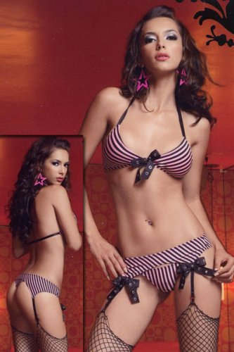 Lycra Striped Bikini Top, Garter Belt And G-String by Leg Avenue