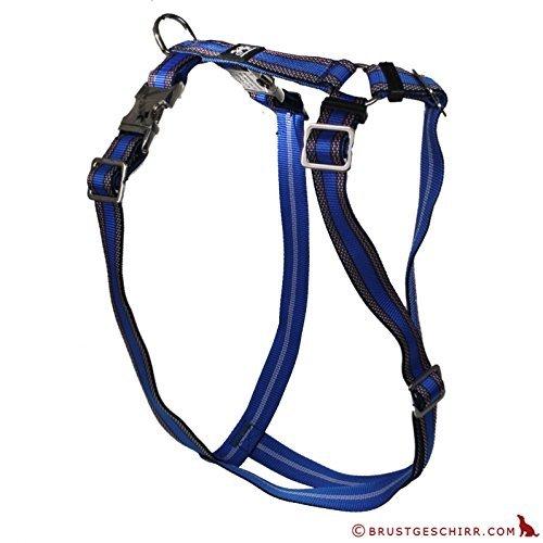 Artikelbild: Feltmann Premium Hundegeschirr mit Alu-Max®, Soft- Nylonband, Muster blau, 70-90cm, 25mm