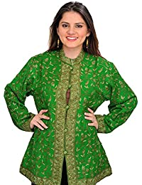 Exotic India Mint-Green Jacket From Kashmir With Ari Hand-Embroidered Pa - Green