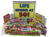 50th Birthday Party Celebration Gift Box of Retro Candy - Life Begins At 50