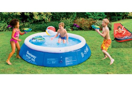 8ft paddling pool with surf rider water guns beach ball for Garden pool argos