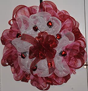 Deco Mesh Valentine Wreath-red and White Mesh with Red Hearts