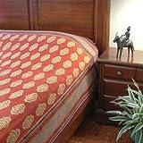 Spice Route ~ Unique Red Orange Luxury Moroccan King Bedspread