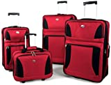 American Tourister Acclaim 4 Piece Nested Luggage Set,Red,One Size