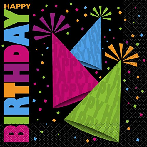 Neon 80s Party Paper Napkins, Pack of 16