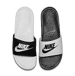 Nike Men\'s Benassi JDI Mismatch Slide Sandals Black/White 10
