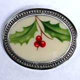 Broken China Jewelry Lenox Holiday Holly Sterling Pin Brooch