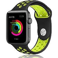 Apple LOHG 42mm Soft Silicone Bracelet iwatch Bands (Black / Volt Yellow)