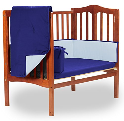 Baby Doll Reversible Port-a-Crib Bedding, lndigo Blue/Royal Blue