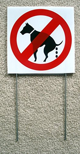 """1 Pcs Stunning Modern No Dog Poop Warning Signs Grass Plastic Caution Size 8"""" x 8"""" with Stakes"""