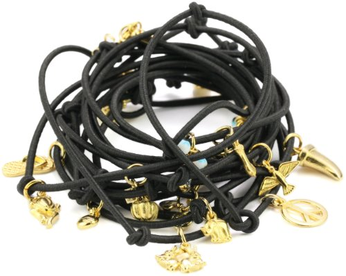 Accessories & Beyond Black Elastic Wrap-Around Charm Bracelet