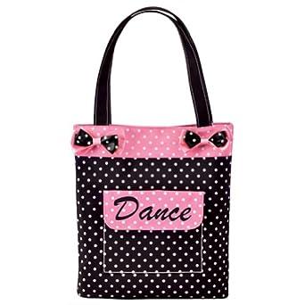 Danshuz Girls Black Pink Polka Dot Bows Dance Tote Bag Accessory