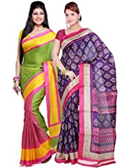 AISHA Printed Fashion Machine Art Silk Multicolor Sari (Pack Of 2) - B00TYAJOF4