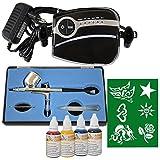 Profi- Airbrush Kompressor Set Carry II mit Tattoo Farben Set