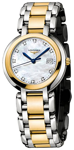 Longines PrimaLuna 18k Gold & Stainless Steel Womens Luxury Watch MOP Dial L8.112.5.93.6