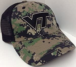 Mesh Trucker Virginia Tech Hokies Digital Camo Hat Cap Black & Camouflage by NCAA