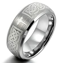buy Moandy Jewelry Mens Tungsten Rings Band Silver Irish Celtic Knot Cross Triquetra Vintage Brushed Size 11