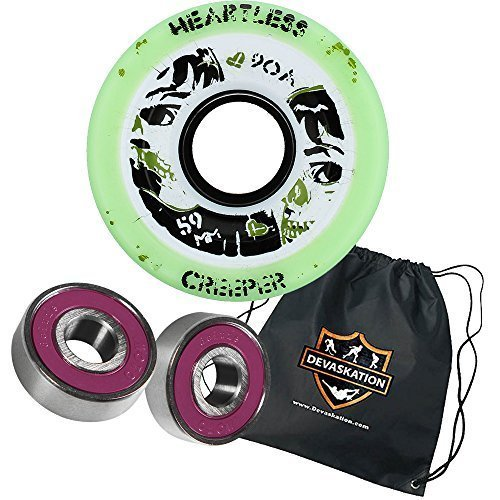 Heartless Quad Speed Skate Roller Derby Wheels Creeper 59mm 8pk Moto Deluxe Bearings, and Devaskation Drawstring Bag 3PC Bundle Color: Mint 90A Size: 59mm 8pk Model: (Heartless Wheels compare prices)