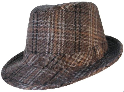 Buy PLAID FEDORA WOOL TRILBY HAT TAN BROWN BLACK