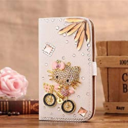 iPhone 6s Wallet Case,The Bestdeal iPhone 6S Wallet Case Leather Folio Support Smart Wallet Case Cover with Card Holder&Magnetic Flip Horizontals (hello kitty&bike)