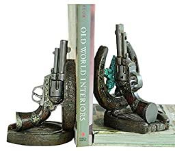 Old West Cowboy Bookends Horseshoe and Guns Old West Western Decor