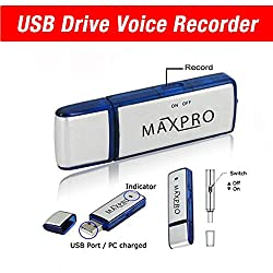 MaxPro-Best USB Flash Drive- USB Voice Recorder- Memory Stick- Thumb Drive- Dictaphone- 8GB- Pendrive - Compatible with Windows, Mac, PC- 1 Year