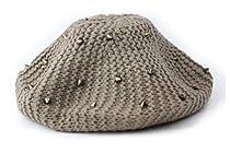 Womens Fashion Spiked Stud Knit Crochet Beret Beanie Hat Skull Cap Tam Brown