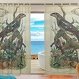 ユキオ(UKIO) レースカーテン 紗のカーテン 人気 鳥 自然 動物 復古 クラシック 魚 イルカ 蝶 可愛い お洒落 欧米 スタイルカーテン 2枚セット幅140丈210