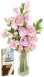 Pretty in Pink (Rose and Carnation) Bouquet and Scharffen Berger Chocolate -With Vase