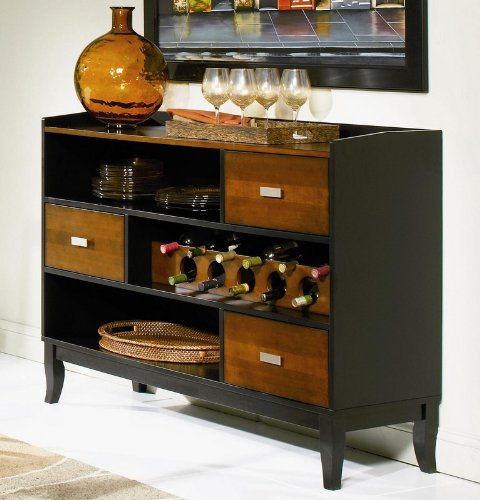 Coaster Boyer 3 Drawer Buffet Server In Two-Tone Cherry And Black front-45366