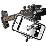 Guitar Headstock Clip On Mount with Ball Head Joint ~ For SmartPhones & Most Cameras ~ Close Up Home Recording ~ Plus FREE Guitar Pick Holder Keyring